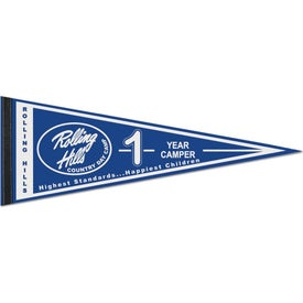 "Classic White Felt Pennant with 1"" Sewn Strips (9"" x 24"")"