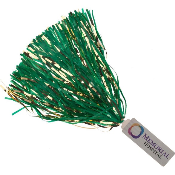 Full Color Imprint Spirit Stick Pom with Glitter Streamers