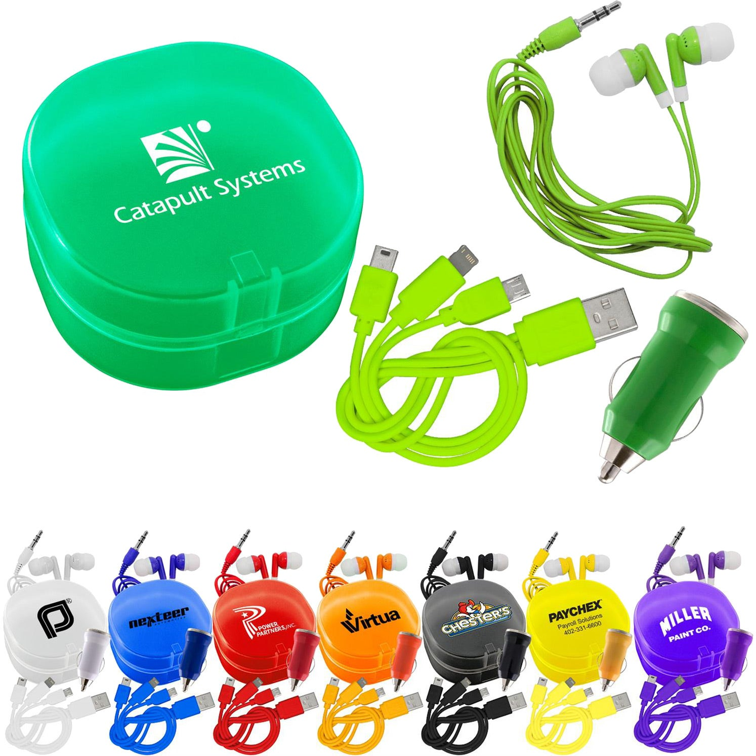 Carry All Ear Buds and Charger Car Set