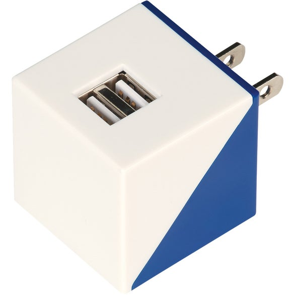 White / Blue Diagonal Dual Port Adapter