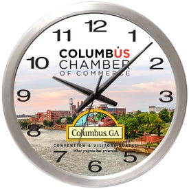 """14"""" Brushed Metal Wall Clock with Glass Lens"""