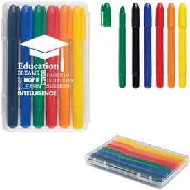 6 Piece Retractable Crayons In Cases