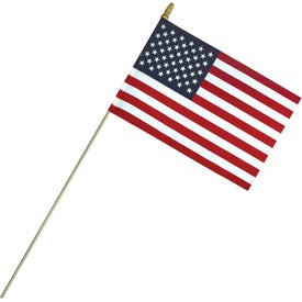 Economy Cotton US Stick Flags with Spear Top (12