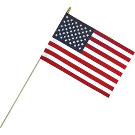 Economy Cotton US Stick Flags with Spear Top (18