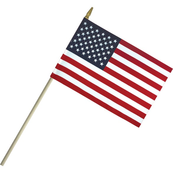 American Flag Lightweight Cotton US Stick Flag with Spear Top