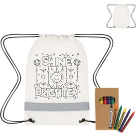 Lil Bit Reflective Coloring Drawstring Bag with Crayons