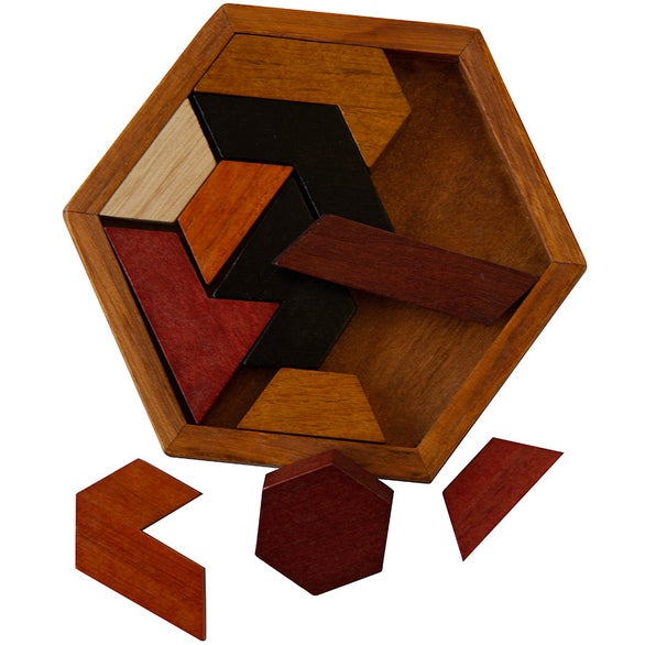 Brown Wood Hexagon Puzzle
