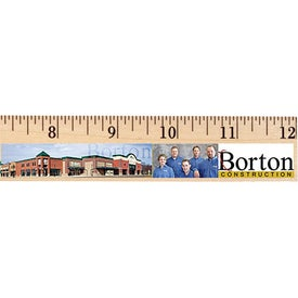 "Logo 12"" Clear Lacquer Wood Ruler English Scale"