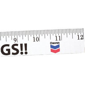 "Logo 12"" Enamel Wood Ruler - English Scale"
