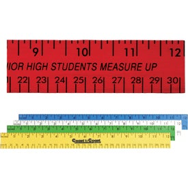 "12"" Enamel Wood Ruler - English and Metric Scale"