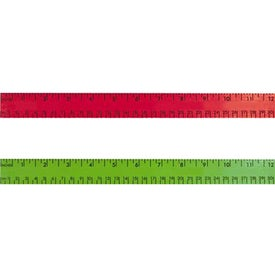 "Logo 12"" Enamel Wood Ruler - English and Metric Scale"
