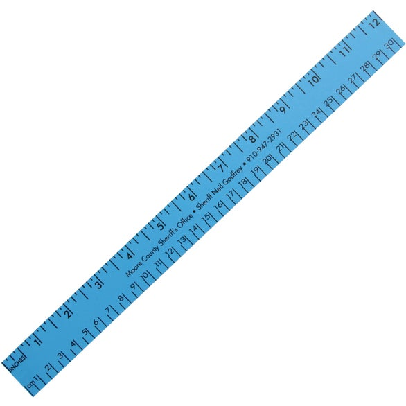 Blue Enamel English and Metric Scale Wood Ruler