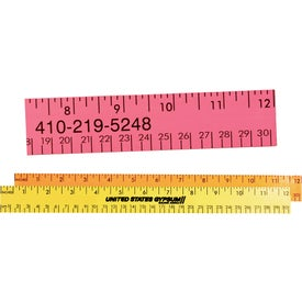 "12"" Fluorescent Wood Ruler English and Metric Scale"