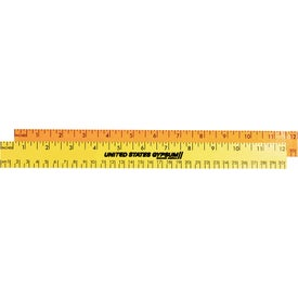 """Advertising 12"""" Fluorescent Wood Ruler English and Metric Scale"""
