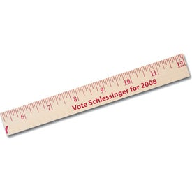 "12"" Natural Finish Wood Ruler for Promotion"