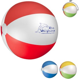 Beach Ball (Ink Imprint, Blue/White, Multi-Color, and Red/White, Quick Ship)