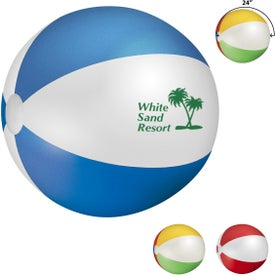 Beach Ball (Pad Print, Blue/White, Multi-Color, and Red/White, Quick Ship)