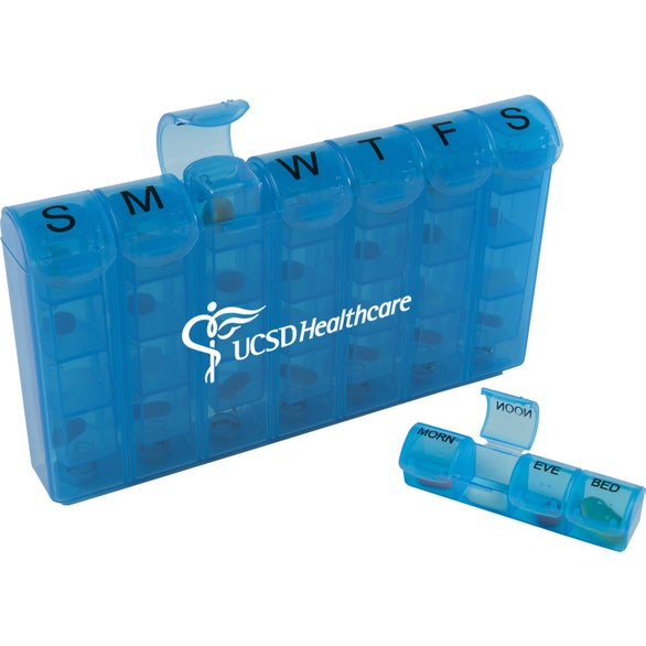 Translucent Blue 28 Compartment Med Minder