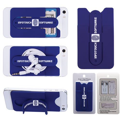Blue 3-In-1 Cell Phone Card Holder With Packaging