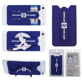 Imprinted 3-In-1 Cell Phone Card Holder With Packaging