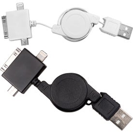 Imprinted 3 In 1 USB Retracting Adapter Cable