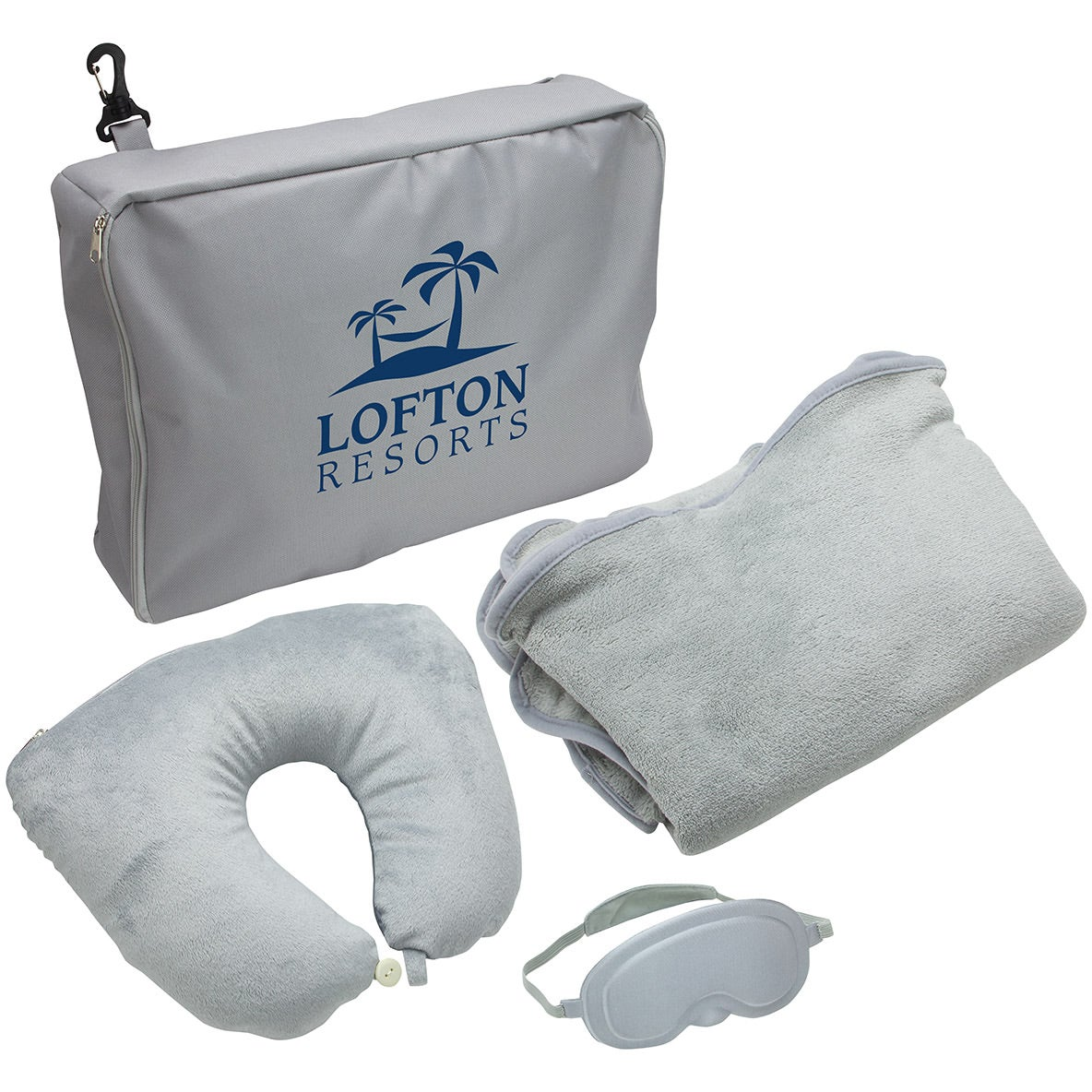 Promotional 3 Piece Travel Pillow And Blanket Sets With Custom Logo