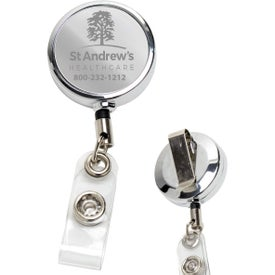 Metal Retractable Badge Reel and Badge Holders (Laser Engraved)