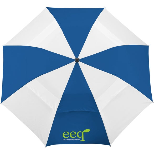 Royal / White Vented Windproof Slim Stick Umbrella