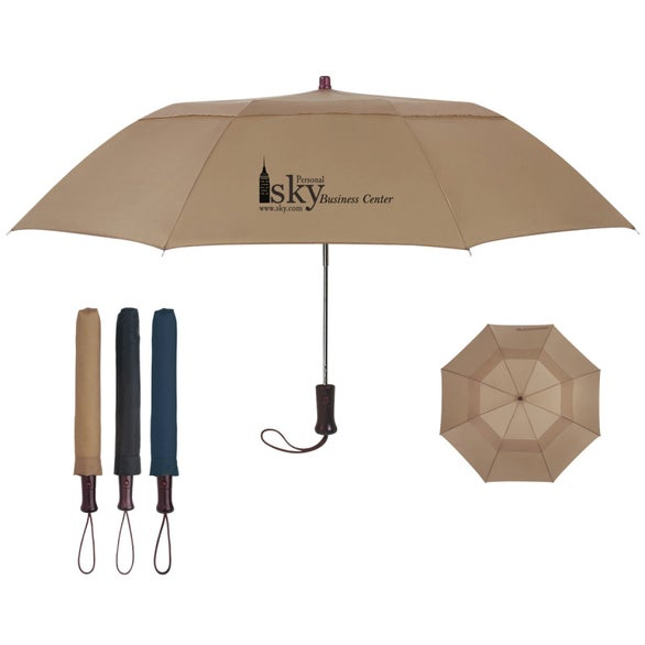 "44"" Arc Telescopic Folding Wood Handle Umbrella"