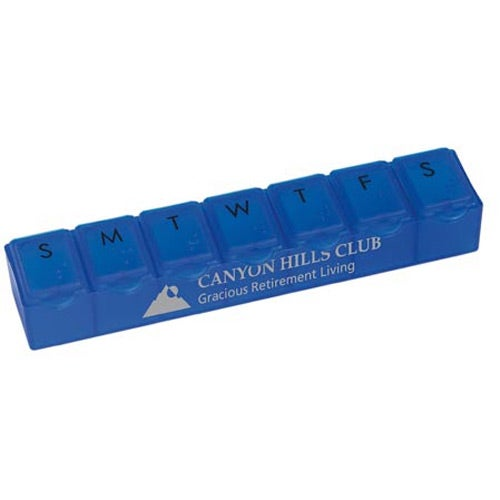 Translucent Blue 7 Day Pill Box with Black Letters