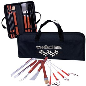 Branded 8 Piece Portable Barbeque Set
