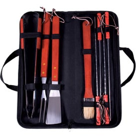 8 Piece Portable Barbeque Set Branded with Your Logo