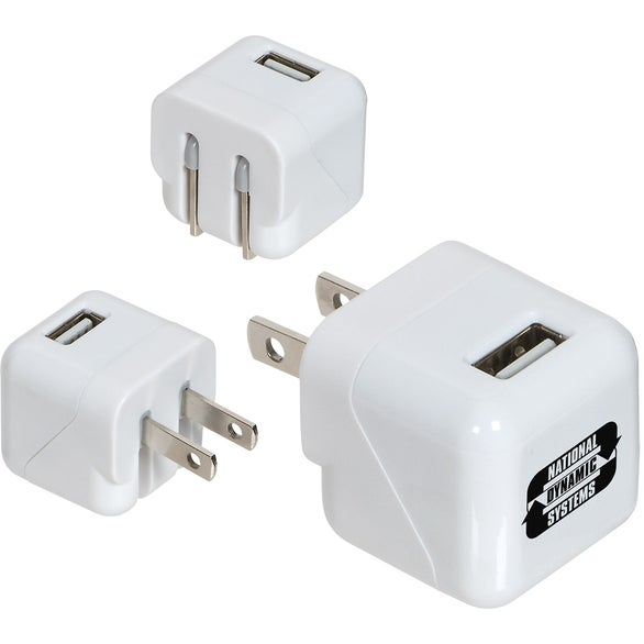 White AC-USB Adapter with Foldable Prongs