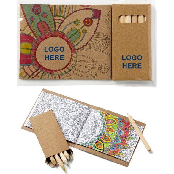 Kraft Brown Adult Coloring Book and 6 Color Pencil Set To Go