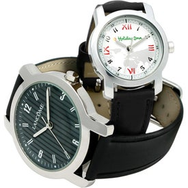 Round Watch with Cowhide Band