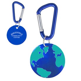 Aluminum Dog Tag Keychain (Globe/Earth)