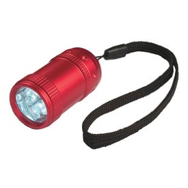 Imprinted Aluminum Small Stubby LED Flashlight With Strap