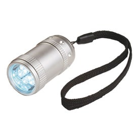Branded Aluminum Small Stubby LED Flashlight With Strap