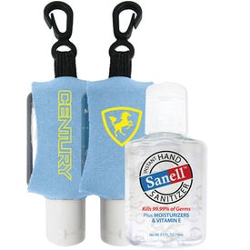 Antibacterial Hand Sanitizer with Neoprene Sleeve Printed with Your Logo