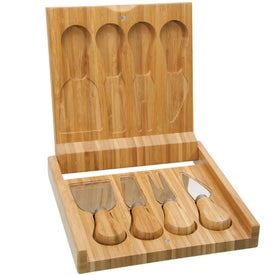 Imprinted Bamboo Cheese Utensil Set