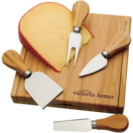 Bamboo Cheese Utensil Set Imprinted with Your Logo