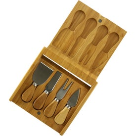 Bamboo Cheese Utensil Set with Your Slogan