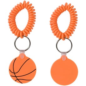 Basketball Key Fob with Coil Branded with Your Logo