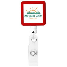 Custom BioGreen Square-Shaped Retractable Badge Holder
