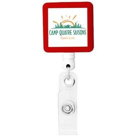Custom BioGreen Square-Shaped Retractable Badge Holder