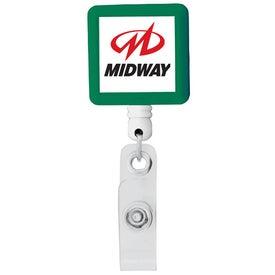 Monogrammed BioGreen Square-Shaped Retractable Badge Holder