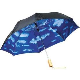 Branded Blue Skies Auto Folding Umbrella