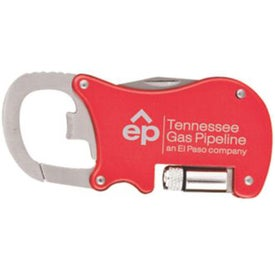 Advertising Bottle Opener Carabiner with Flashlight and Knife