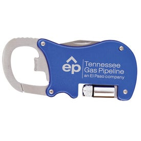 Printed Bottle Opener Carabiner with Flashlight and Knife
