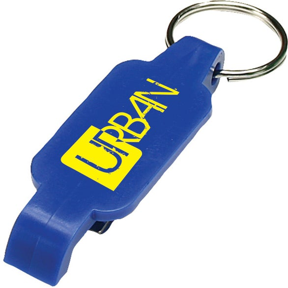 Blue Plastic Bottle Opener Key Chain